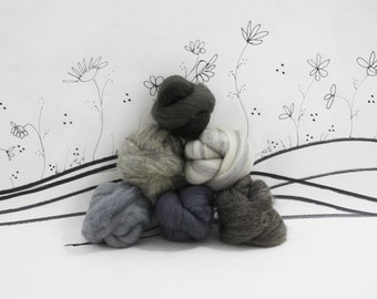 Wooly Buns roving, fiber sampler, assortment, needle felting supplies in Elephant, 1.5 oz gray wool roving, hand dyed and natural roving