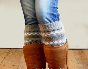 Womens Boot cuff - boot cuffs -Aztec Leg Warmers - Womens Leg warmers - Womens boot socks (item BC Aztec 103)