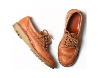 Vintage 70s K Shoes Tan Brown Leather Lace-up Flat Oxford Shoes UK 4 US 6.5 EU 37