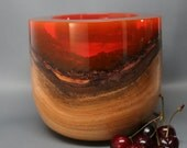 Handcrafted Natural Bark Edge Cherry Wood Turned with Clear Red Resin Top; Wedding Gift, Wooden Bowl, Housewarming Gift, Collectible Art