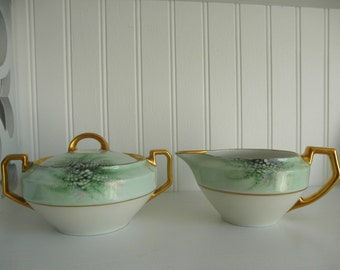 Bavaria Creamer Sugar Hand Painted Gold Floral Electra H & C Selb Green 1930s Dining Serving Tableware 30s Fine Bavarian Porcelain China