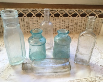 6 Antique Bottles Blue & Clear Inkwell to Tonics