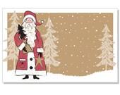 "50ct. Primitive ""WOODLAND SANTA"" Print Florist Blank Enclosure Cards Small Tags Crafts (Free Shipping!)"