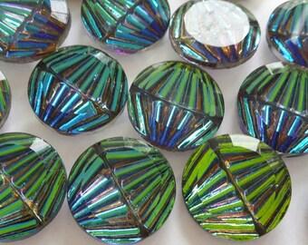 2 glass jewels, Ø18mm, vitrail AB, round