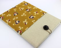 15 Laptop Sleeve ,14 Inch Laptop Case ,Dell Inspiron Case ,Hp Pavilion Case Lucky Cats Ocher