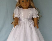 18 inch doll dress, half slip, and hair clip. Floor length dress fits American Girl Dolls and other 18 inch dolls.