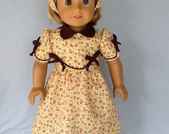 1930s Frock fits American Girl doll Kit Or Ruthie and other 18 inch dolls.Yellow floral print with brown contrast.