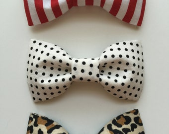 Trendy Baby/Toddler Boy Leopard/Stripe/Polka Dot Clip on Bow Tie - set of 3