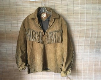 Vintage Men's Beige Suede Pullover Anorak Lace Up Jacket With Fringes Size L