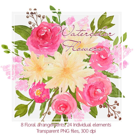 Hand painted flower clip art watercolor flower clipart for Bouquet exotique