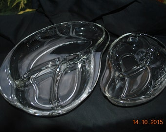 2 - Fostoria Cut Glass in the Wheat Pattern 2 and 3 Part Relish Dishes
