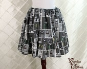"""Super Mario Bros. Mini Ruffle Skirt-- Semi-Grayscale Cotton Print -- Ready to Ship -- 16"""" Length -- Fits up to 38"""" Waist or Upper Hip"""