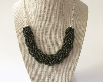 Olive Green Beaded Braid Necklace