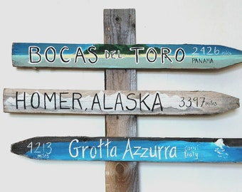 Set of 3 Custom Illustrated Travel Signs - Hand Painted on Reclaimed Wood Fence Pickets - Outdoor, Garden, Vacation Signs