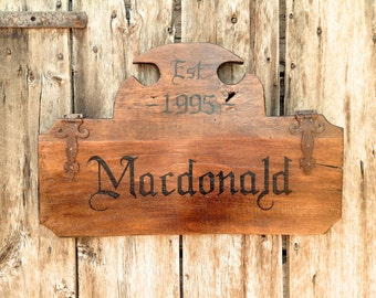 Reclaimed Barn Wood Old World Family Name Sign - Handmade by Arcadian Cottage