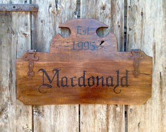 Reclaimed Barn Wood Family Name Sign - Handmade by Arcadian Cottage