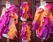 felted scarf, wrap, handmade,mulberry silk,cashmere, felted wool , art to wear, READY TO SHIP, orange, pink, white