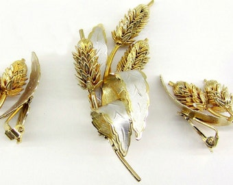 Vintage Two-tone Wheat Brooch and Earrings Set