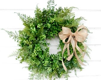BOXWOOD Wreath-FERN Wreath-Fall Wreath-Farmhouse Decor-SCENTED Wreath-Outdoor Wreath-Year Round Wreath-Rustic Home Decor-Custom Made Gifts