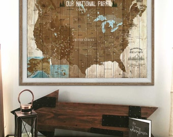 USA National Parks Map, Push Pin Map, USA Parks, Hiking Map, Gift for hiker, Park Ranger, Grandparents gift