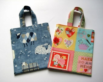 Small PVC Bag - Sheep or Patchwork Needlework Print, Oilcloth Bag, Small Tote Bag