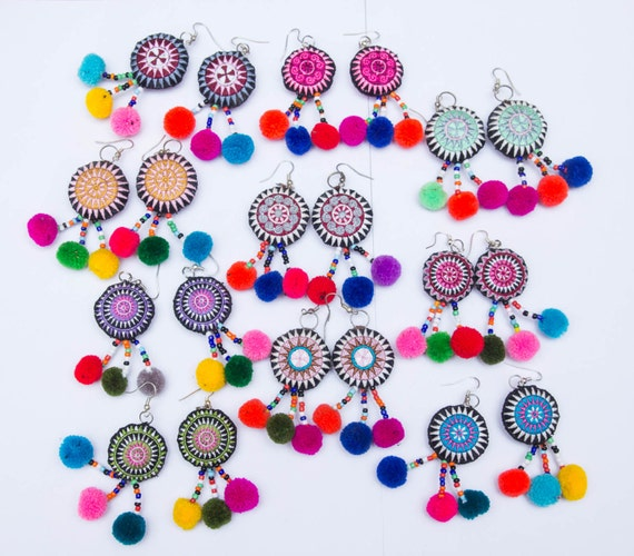 Hmong Earring /Accessories /Ethnic /Embroidery /Colorful /Tribal /Whole sale