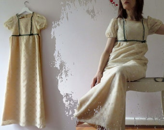 70s Ivory Lace Prairie Maxi Dress Saks Fifth Avenue Empire Line Extra Small