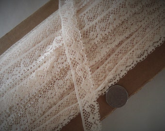 """Lace Trim Cream Color 3/4"""" Wide Baby Doll."""