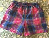 Rainbow Plaid Shorts Unisex 90s Vintage Cotton Drawstring