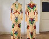Saul Villa Maxi Dress / 1970's Designer Vintage / Botanical Print Maxi Dress /  Women's Medium Long Gown