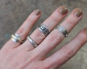 Stamped Sterling Band / Simple Sterling Silver Ring / Vintage Southwest Jewelry