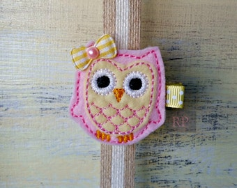 Felt Pink and Yellow Owl on Alligator Clip - Bird Clip - Animal Embroidered Felt - Hair Clip