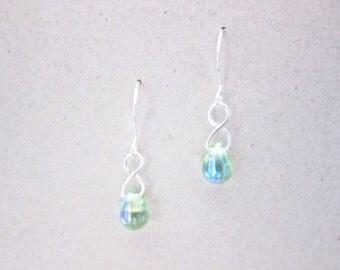 Lime Green AB Czech Glass Dangle Drop Teardrop Earrings TCJG