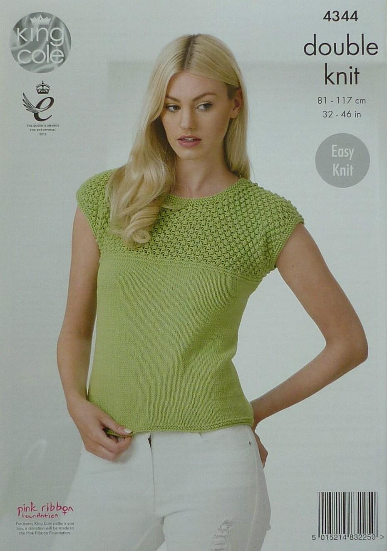 Lace Yoke Knitting Pattern : Womens Knitting Pattern K4344 Ladies Easy Knit Cap Sleeve ...