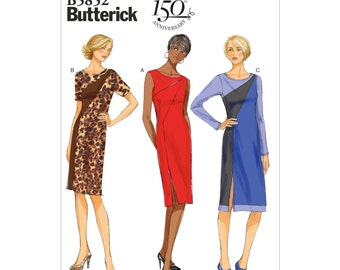 Butterick Sewing Pattern 5852 EASY Fitted Color Block Sheath Dress 6-8-10-12-14 New Uncut Factory Folded