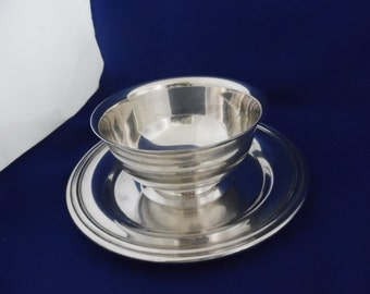 Dip bowl Silver Plate with Attached Underplate
