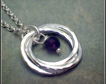 3 Rings Silver Necklace with Amethyst, February Birthstone, Interlocking Rings, 30th Birthday Necklace,  3rd Anniversary, Silver Necklace