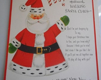 1970  Santa Claus Christmas Card Standing Cut Out that Walks Scrapbooking Craft Altered Art  Hallmark Santa Claus Card