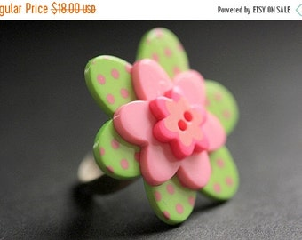 BACK to SCHOOL SALE Pink and Lime Flower Ring. Polkadot Flower Ring. Lime and Pink Flower Ring. Button Ring. Adjustable Ring in Silver. Hand