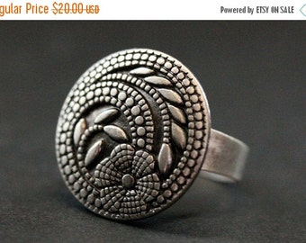 BACK to SCHOOL SALE Summer Mandala Flower Ring. Floral Button Ring in Silver. Adjustable Ring. Handmade Jewelry.
