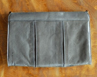 vintage Saks Fifth Avenue grey reptile leather clutch