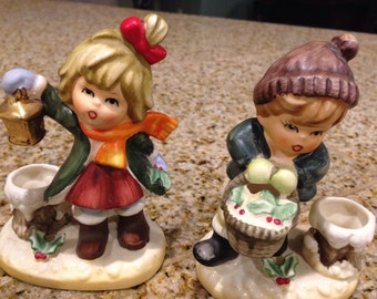 Napcoware pair of boy and girl vintage candle sticks figurines
