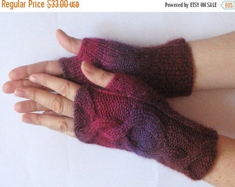 Fingerless Gloves Pink Beet Purple Violet wrist warmers