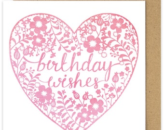 Birthday Wishes Pink Papercut Watercolour Style Heart Birthday Card. Floral Birthday Card design.