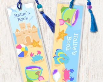 Kid's Personalized Summertime Bookmarks, Kids Laminated Ocean Bookmarks, Bookmark Set of 2, Great Gift, Birthday Gift