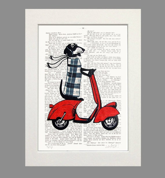 Dachshund on Moped Red Vespa ENGLISHMAN in NEW YORK  Dictionary Art Print Poster England Doxie Art Illustration Wall Decor new 1