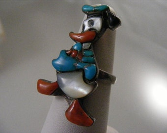 Vintage Native American Donald Duck Inlaid Ring..... Lot 4421
