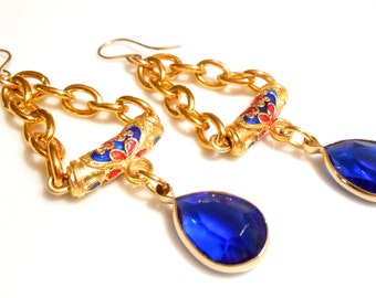 CLEARANCE SALE Blue Earrings, Chain Earrings, Blue/Gold Earrings, Asian Earrings, Chandelier Earrings, Dangle Earrings