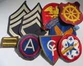 US Army WW2 Patch Lot, SSG Rank Patches, 3rd Army Nice Green Back, AAF , 38th Inf, Port of Embarkation, others