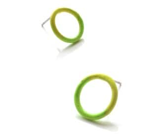 small circle stud earrings powder coated in a yellow and green gradation, minimalist earrings with hypoallergenic post, SALE 50% OFF